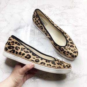 Ugg Leopard Calf Hair Round Toe Flats